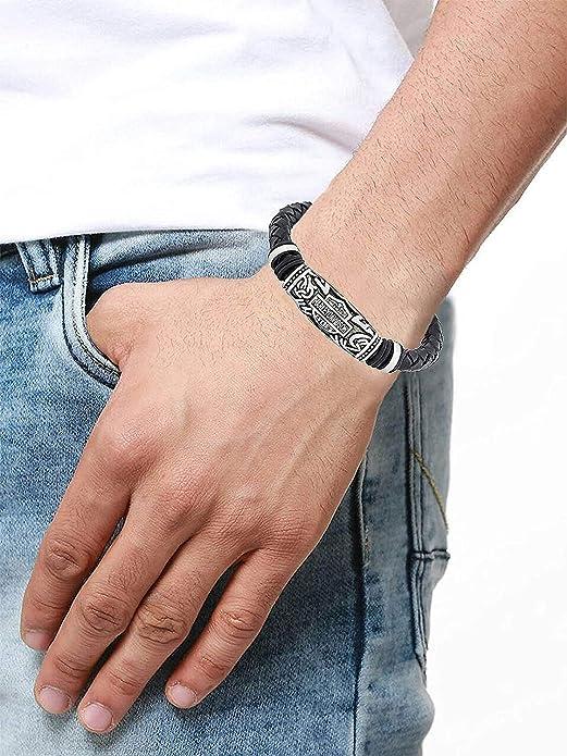 Herren Armband von The Jewelbox Zivom, mit Metallelement, ideal für Harley Fans, handgefertigt, weiches und langlebiges Leder, Edelstahl, Schwarz