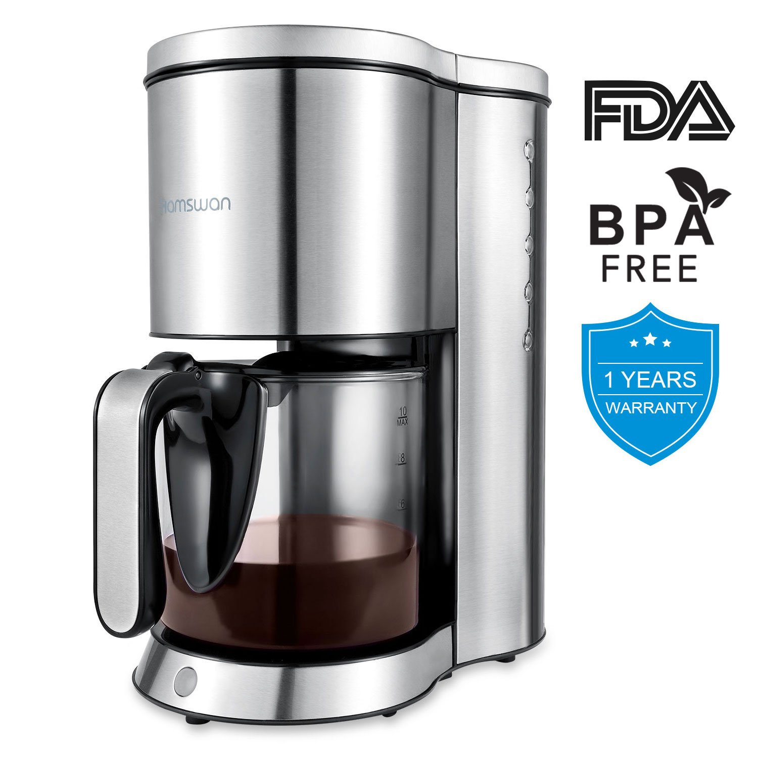 Drip Coffee Maker, HAMSWAN AD-103 Stainless Steel Coffee Maker Coffee Pot, Small 10 Cup Coffee Machine with Glass Thermal Carafe, Insulated, Keep Warm, Automatic Shut Off for Single Serve & House Use by HAMSWAN (Image #1)