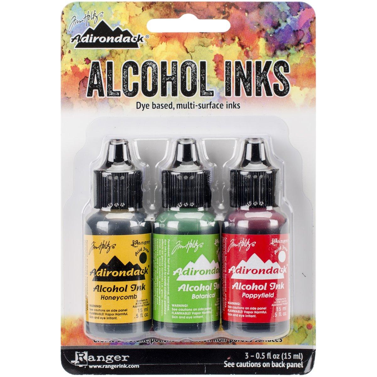Ranger Multicolored Tim Holtz Alcohol Ink .5oz 3-Pack Conservatory-Honeycmb/Botanical/Poppyfld TAK-B-40859