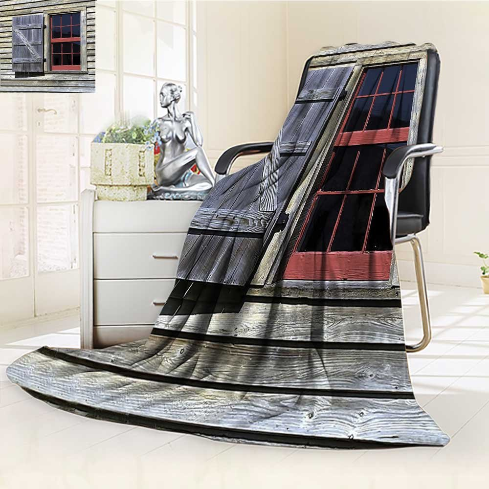 YOYI-HOME All Season Super Soft Cozy Duplex Printed Blanket Window Shutters in Historical Village Image Cottage Style Print Red Brown from for Gift Blanket s/W59 x H86.5