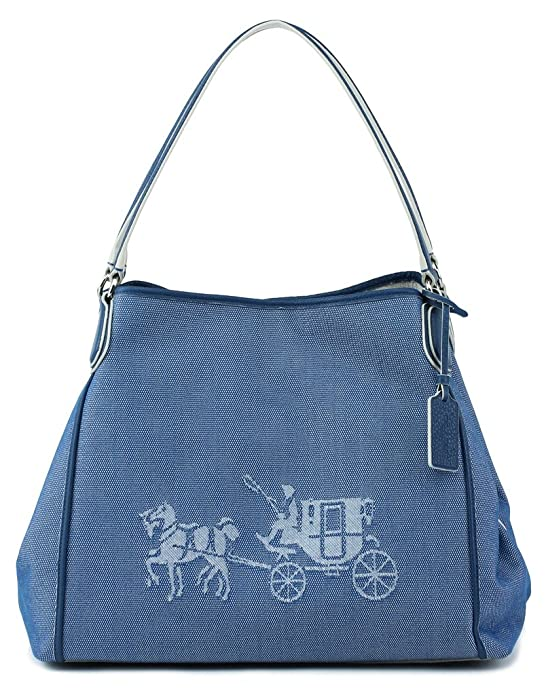 da69c215b753 ... netherlands amazon coach 35344 embossed horse and carriage edie shoulder  bag in canvas in denim shoes ...