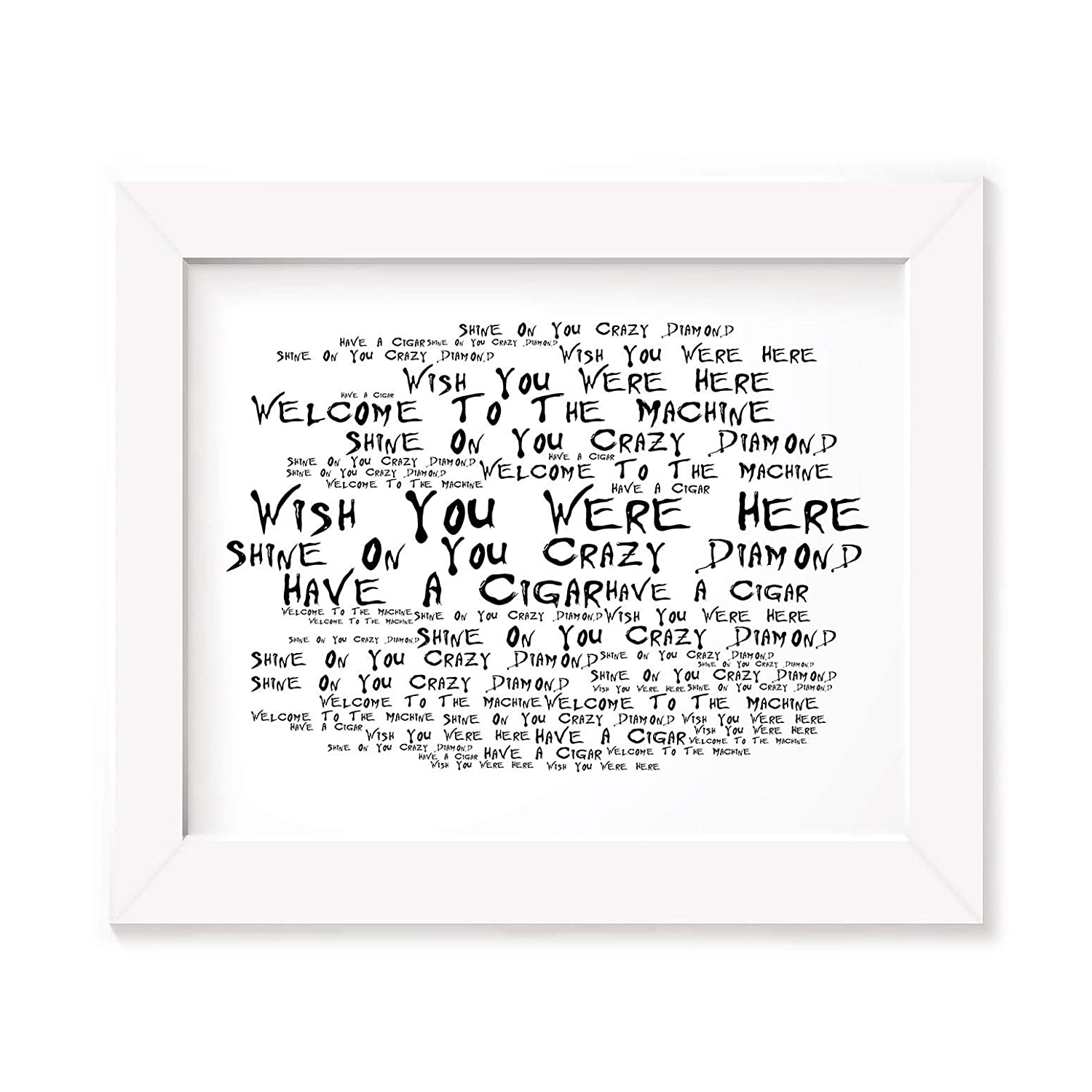 'Noir Paranoiac' Art Print – Pink Floyd – wish you were here – firmato e numerato edizione limitata tipografia Wall Art Print – Song lyrics mini poster LISSOME Art Studio