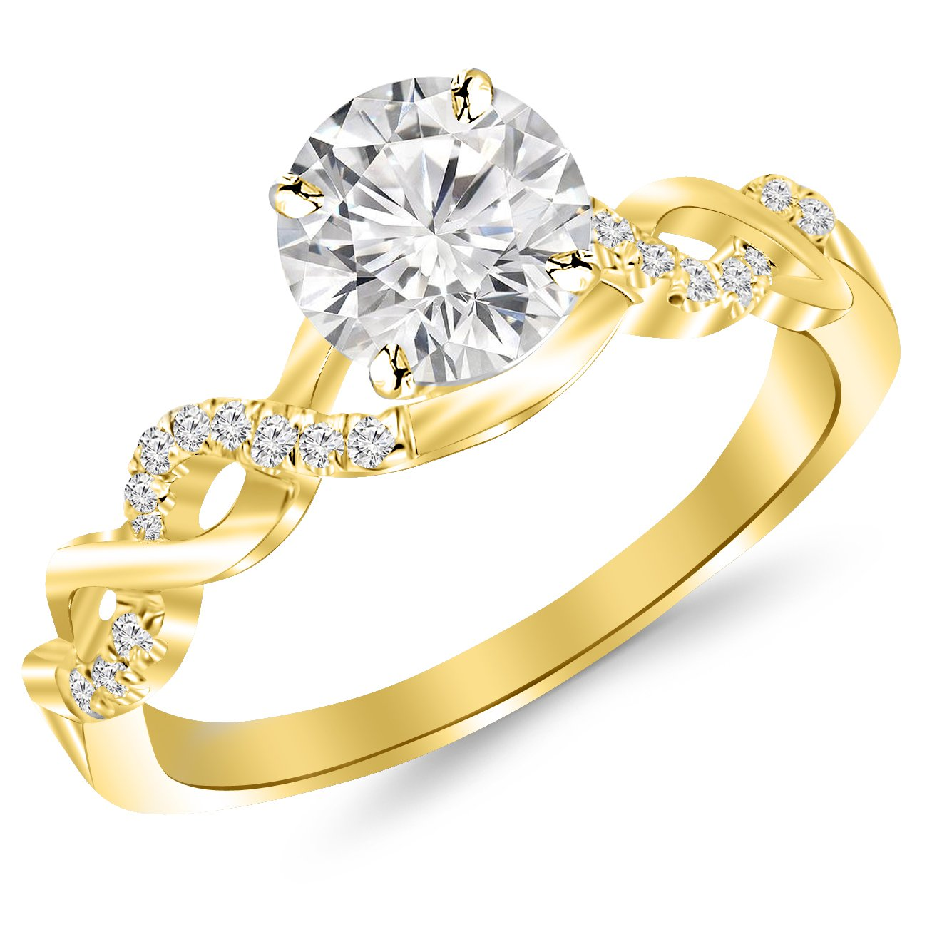 0.63 Carat Twisting Infinity Gold and Diamond Split Shank Pave Set Diamond Engagement Ring 14K Yellow Gold with a 0.5 Carat J-K I2 Center