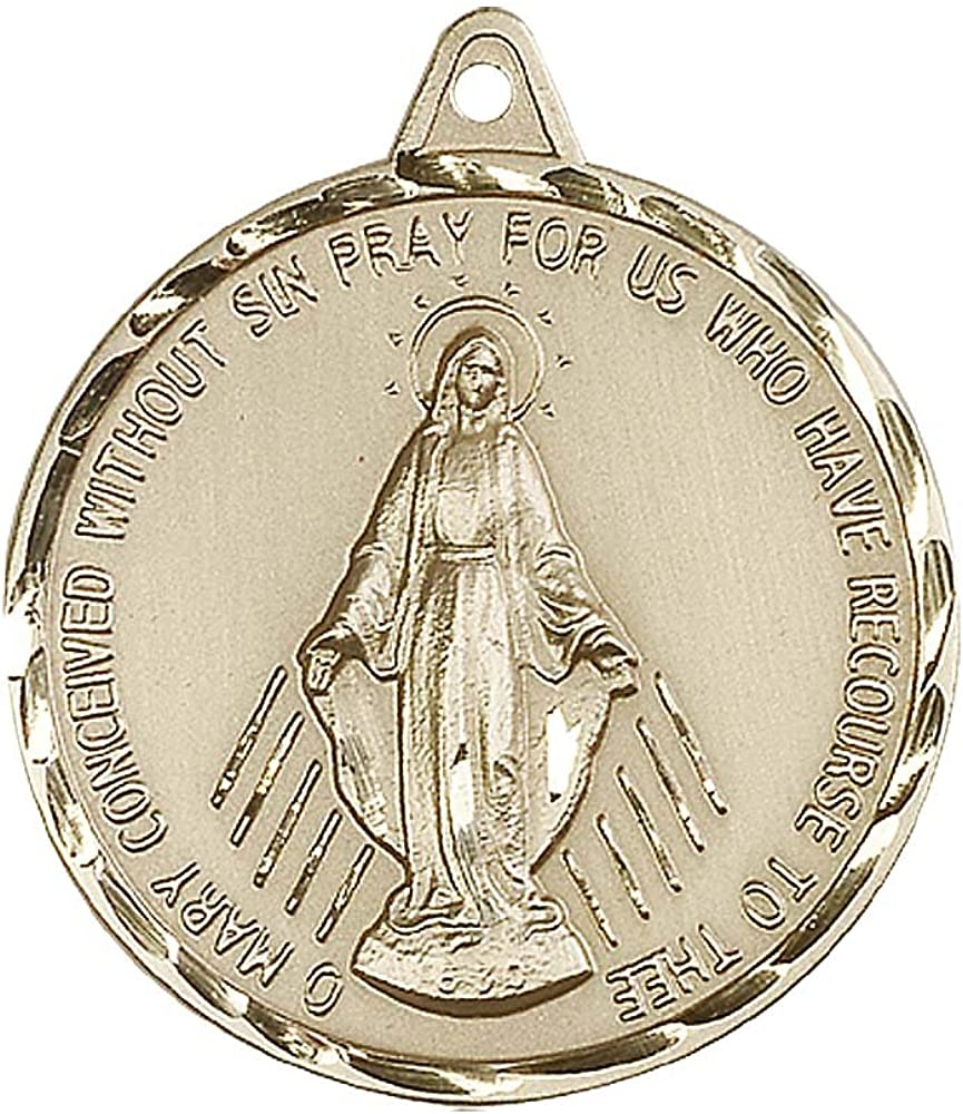 Includes deluxe flip-top gift box 14kt Gold Miraculous Medal Medal//Pendant measures 7//8 x 3//8
