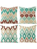 """Set of 4 Throw Pillow Covers with Geometric Pattern - Cotton Linen Throw Pillow Case,Tasteful Cushion Covers,No Filling,18""""x18""""/45x45cm"""