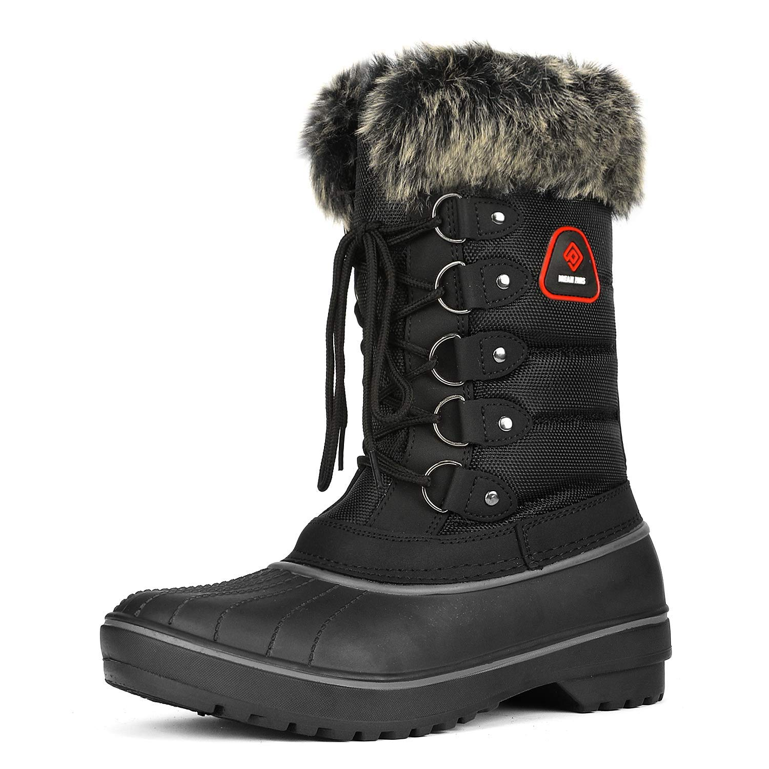 DREAM PAIRS Women's DP-Canada Black Faux Fur Lined Mid Calf Winter Snow Boots Size 9 M US by DREAM PAIRS
