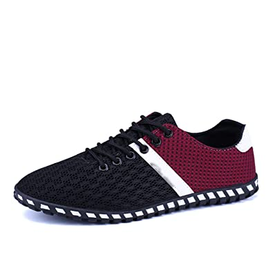 Mandaartins Men Summer Boat Shoes Sneakers Breathable Mesh Lace-Up Flat Shoes Black 7