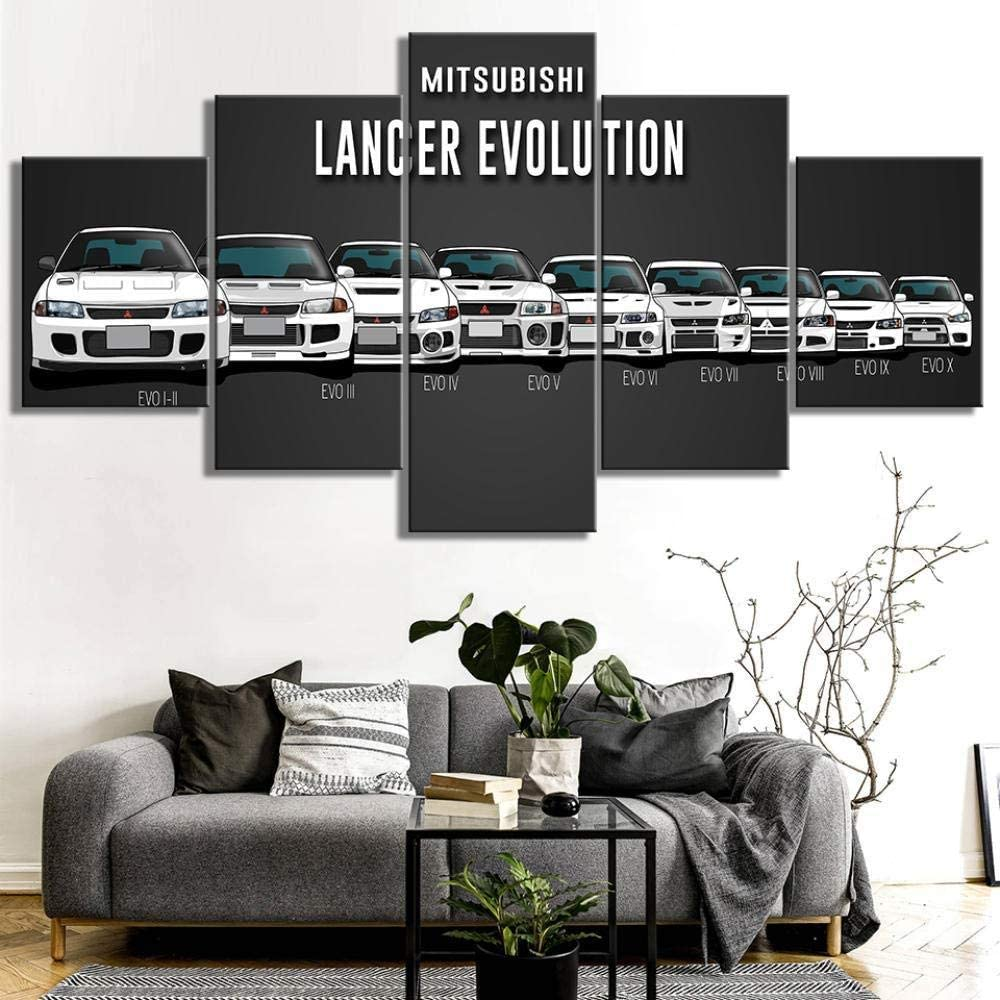 XIANGLL 5PC HD Wallpapers Art Canvas Print Modern Poster Modular Art Painting For Living Room Home Decor Mitsubishi Lancer Evolution Car 5PC Panels Modern Canvas Prints Abstract Pictures Frame Ready