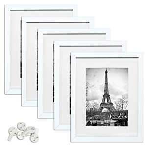 upsimples 11x14 Picture Frame Set of 5,Display Pictures 8x10 with Mat or 11x14 Without Mat,White Photo Frames for Wall Display