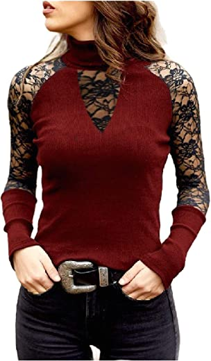 Comaba Women Pullover High Neck Lace Patchwork Hollow Out Pure Colour Tees