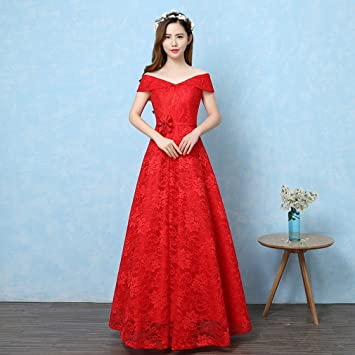 MOM Vestido de Cintura Alta Era Vestido Rojo Largo Novia Grande de la Boda,UN
