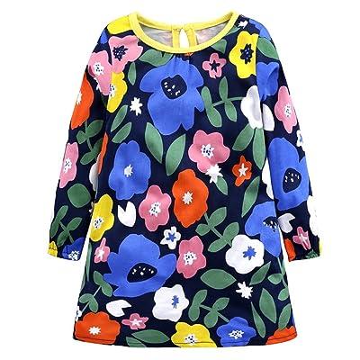 Petite robe à manches longues bébé fille Floral imprimé une pièce tenue pour 18 mois à 7 ans