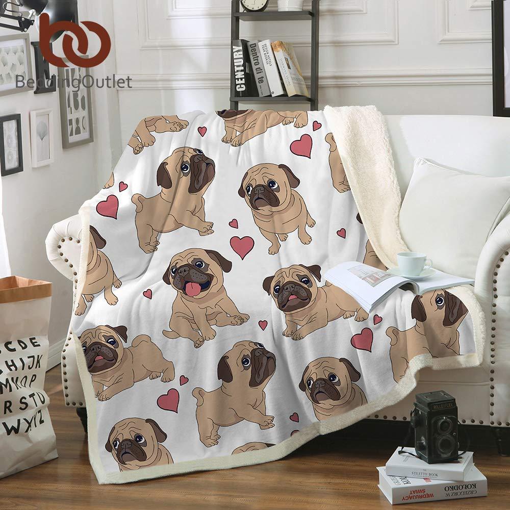 Amazon.com  Hippie Pug Sherpa Blanket on Beds Animal Cartoon Plush Throw  Blanket for Kids Bedspread Bulldog Sofa Cover (50x60 inch)  Home   Kitchen 9d0fb57ce
