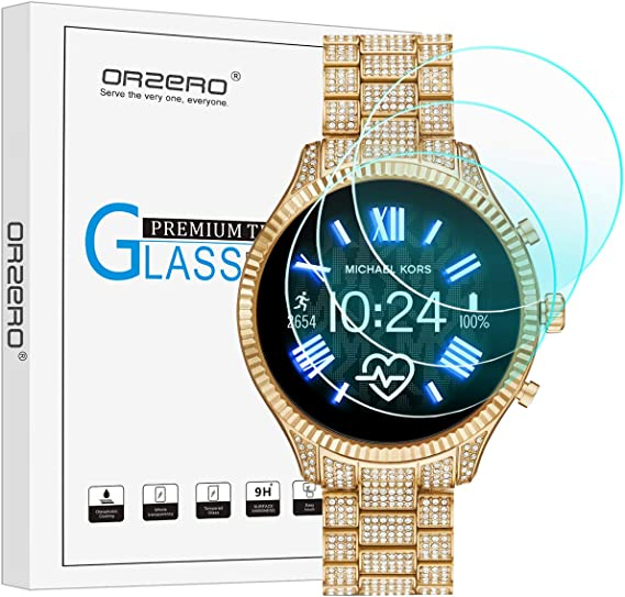 (3 Pack) Orzero Compatible for Michael Kors Lexington 2 Smartwatch Tempered Glass Screen Protector, 2.5D Arc Edges 9 Hardness HD Anti-Scratch ...