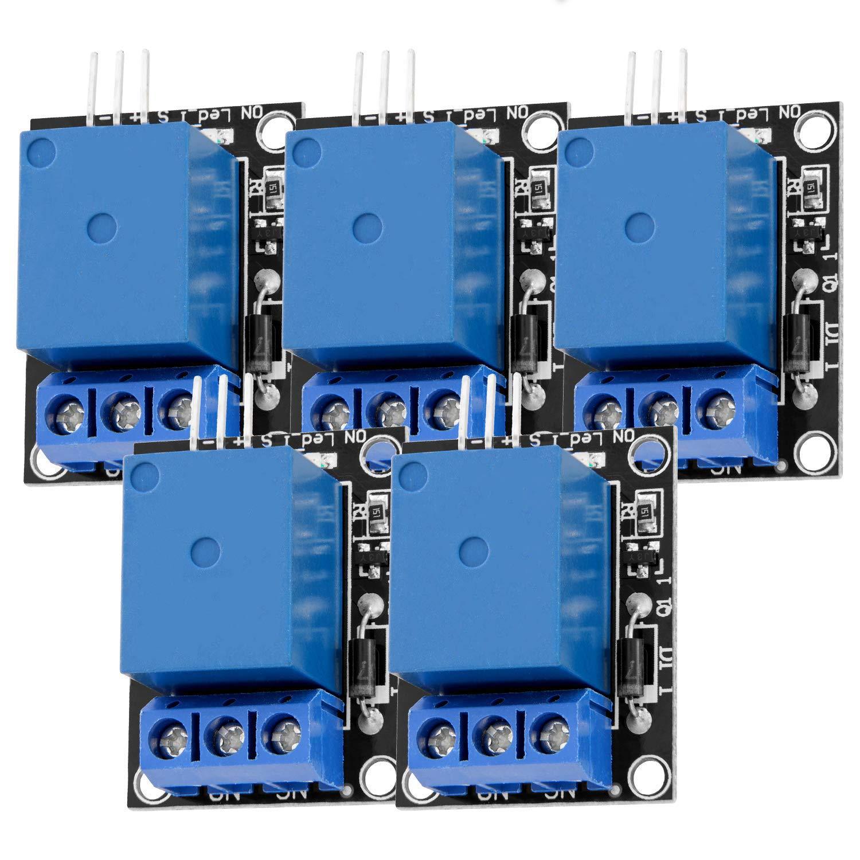 AZDelivery 5 pcs 1 Canal KY-019 Modulo Rele 5V High-Level-Trigger compatible con Arduino con E-Book incluido!