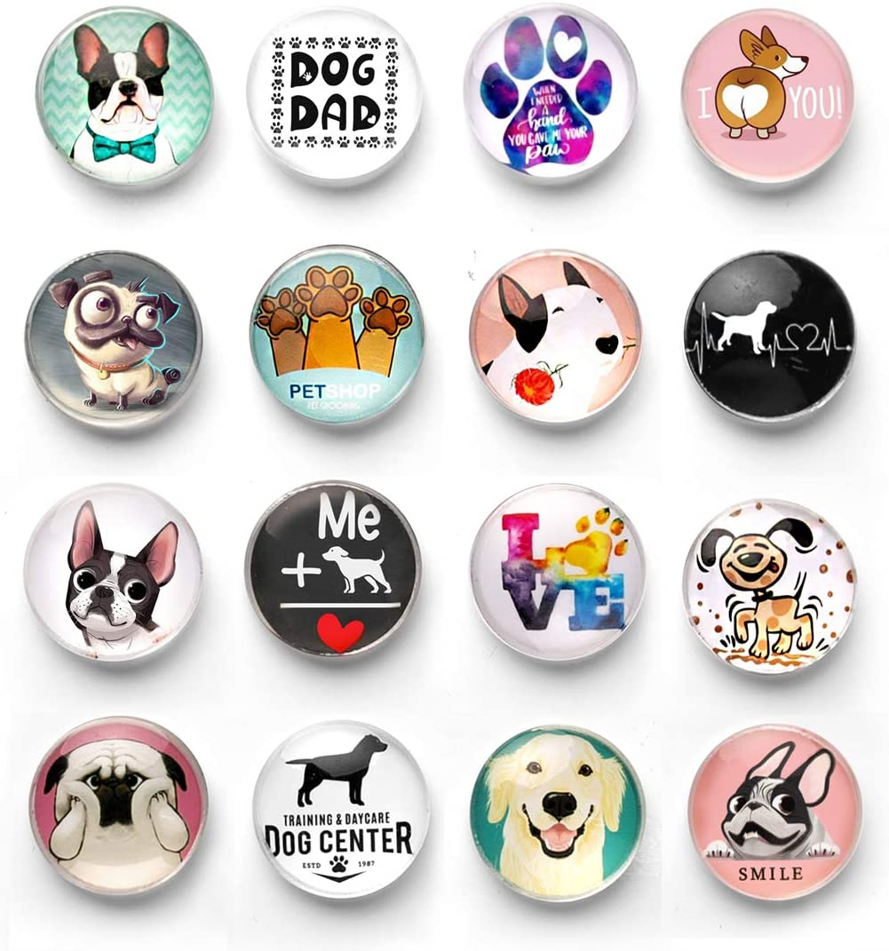 Cosylove 16 Styles Dog Frigerator Magnets, Crystal Glass Fridge Magnets For Office Cabinets, Whiteboards, Photos, Beautiful Decorative Fridge Magnets,Decorate Home (Dog)