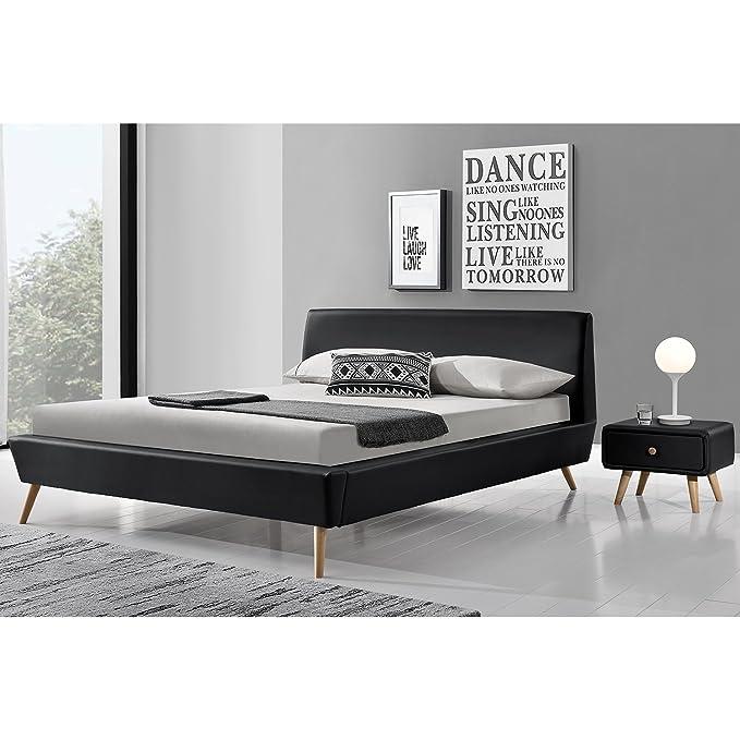 Concept-Usine Cama Norway - Marco de Cama escandinavo Negro con Patas en Madera - 140 x 190 cm: Amazon.es: Hogar