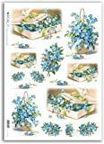 Accademia del Decoupage 32 x 45 cm carta di riso, scatole di design fiore blu