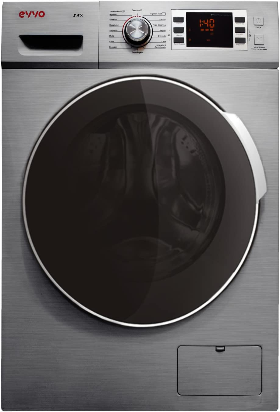 EVVO 3.9X - Modelo 3.9X Lavadora de Carga Frontal de 9 KG y 1400 RPM [Eficiencia Energética: A+++ (-10)] - Marca Española - 4 años de Garantía - Color INOX