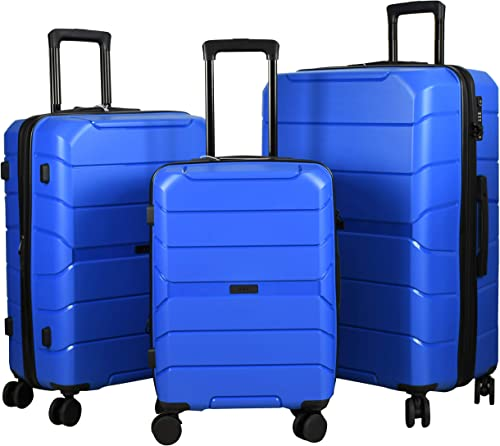 Expandable Luggage 3 Piece Set Suitcase Spinner Scratch Resist PP Hardside with TSA Lock and Dual Wheels, Blue