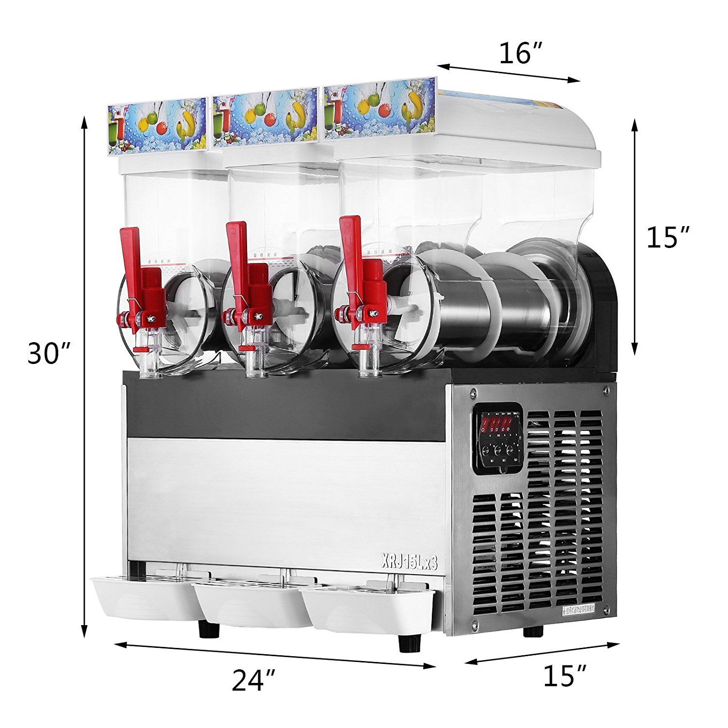 Happybuy 110V Commercial Slushy Machine 500W Stainless Steel Margarita Smoothie Frozen Drink Maker Suitable Perfect for Ice Juice Tea Coffee Making 15L x 3 Tank Sliver by Happybuy (Image #2)