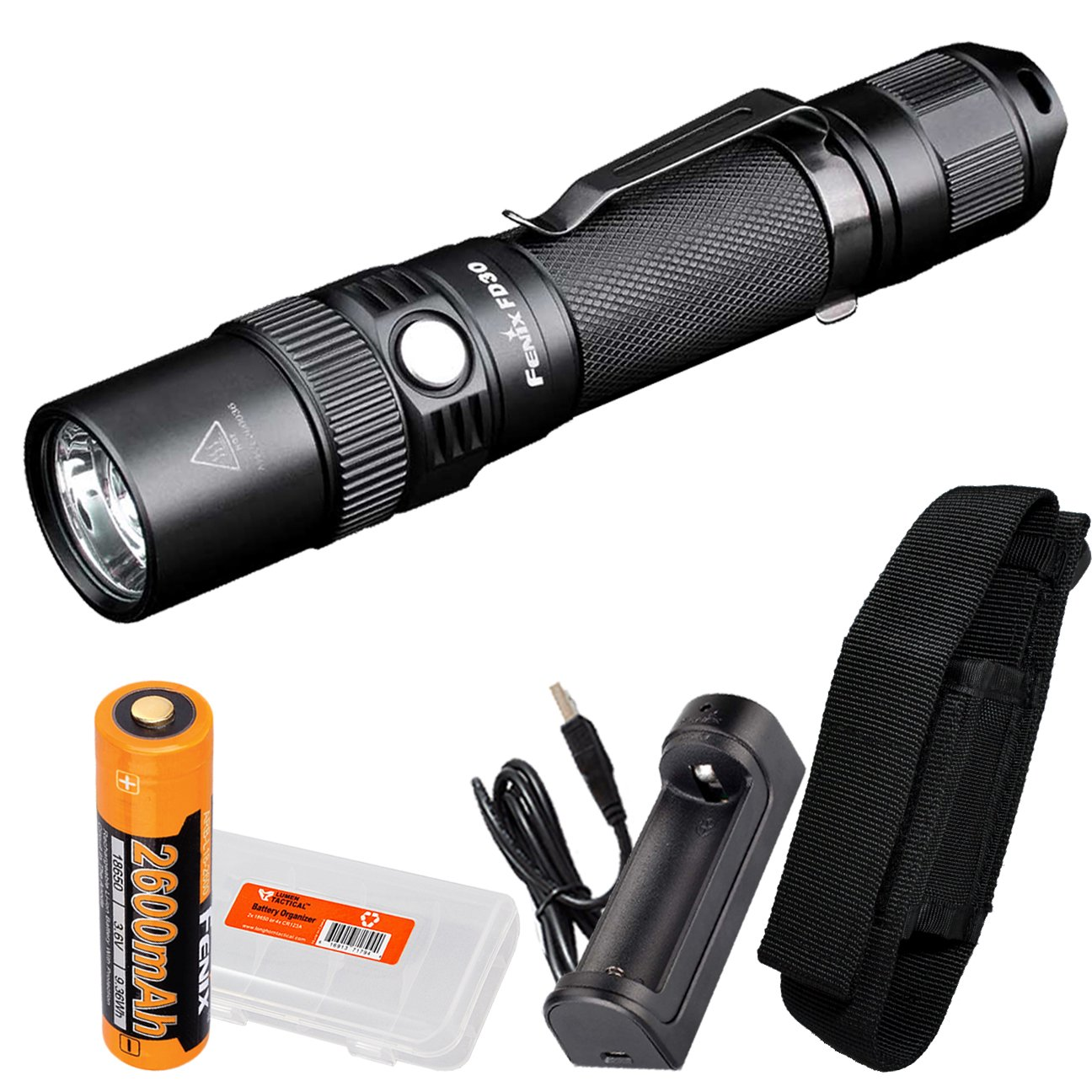 Fenix FD30 900 Lumen Zoomable Rechargeable Tactical LED Flashlight with Fenix 18650 Battery, ARE-X1 Charger and LumenTac Battery Organizer