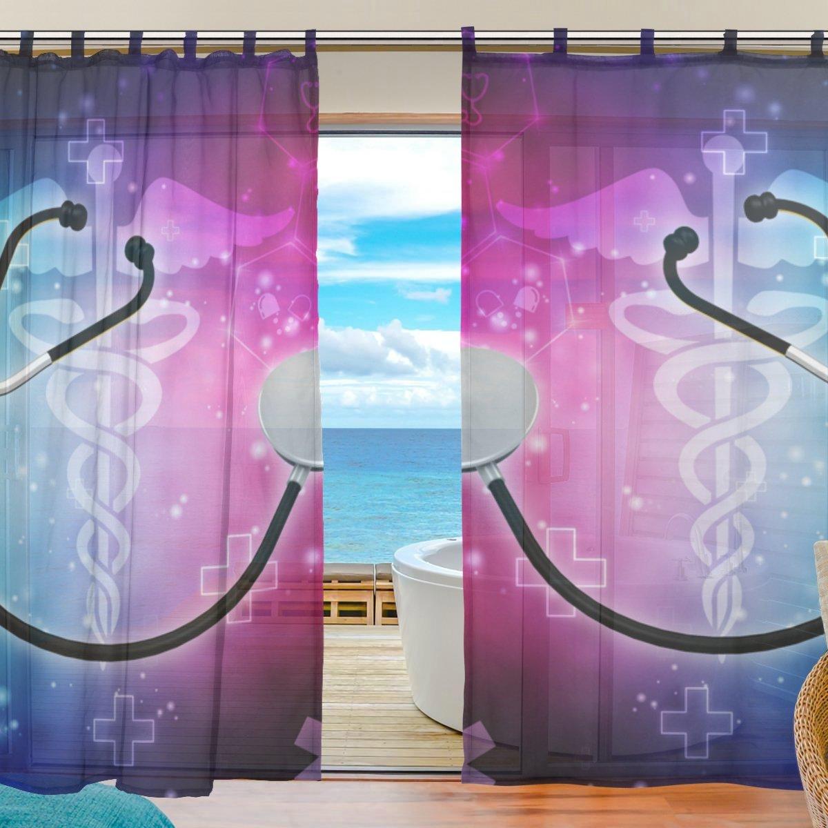 "La Random Strange Stethoscope Window Sheer Voile Curtains for Living Room Bedroom Kids Room Curtains Polyester 55""Wx78""L Per Panel Set of 2 Panels"