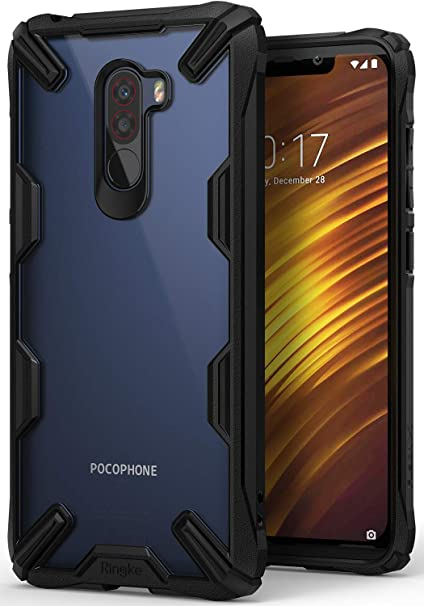 new concept f0ade 7d647 Ringke Fusion-X Case Compatible with Pocophone F1 Ergonomic Transparent  [Military Drop Tested Defense] Hard PC Back TPU Bumper Impact Resistant ...