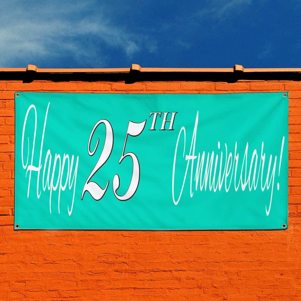 8 Grommets Multiple Sizes Available 48inx96in Vinyl Banner Sign Happy 25Th Anniversary Teal Lifestyle Marketing Advertising Green One Banner