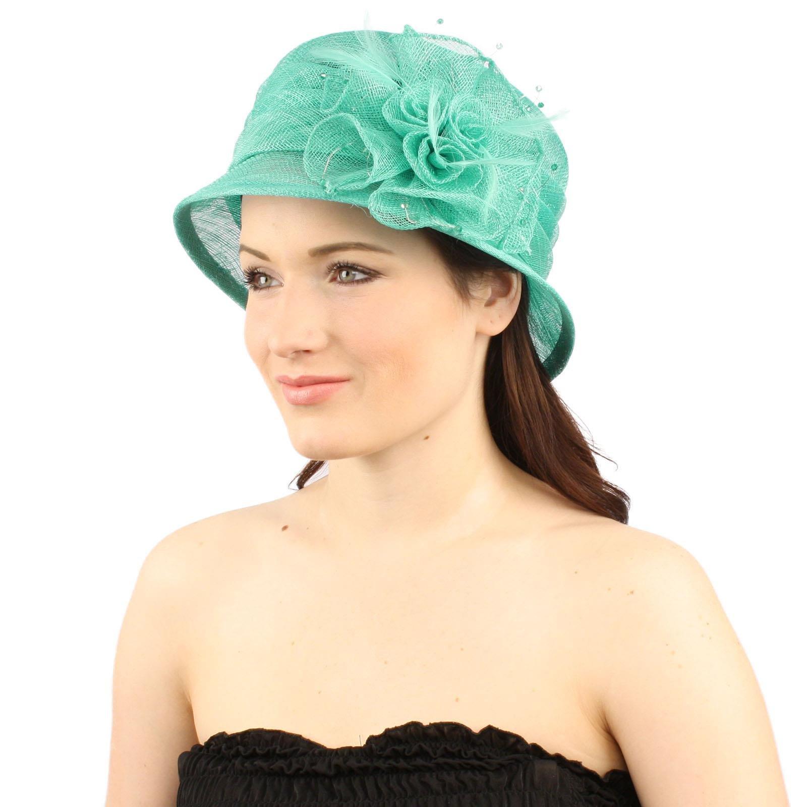 Summer Fancy 1920s Flapper Sinamay Trio Floral Cloche Bucket Church Hat Mint