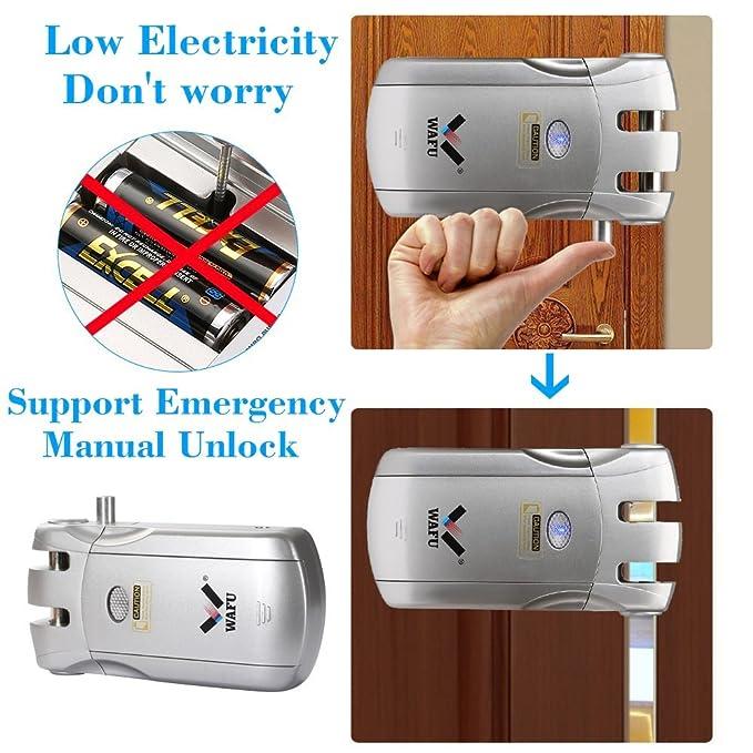 WAFU WF-018 Cerradura Inalámbrica Inteligente Cerradura Control Remoto Cerradura Invisible con 4 Control Remotos, Plata: Amazon.es: Electrónica