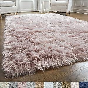 GORILLA GRIP Original Premium Faux Fur Area Rug, 2x4, Softest, Luxurious Shag Carpet Rugs for Bedroom, Living Room, Luxury Bed Side Plush Carpets, Rectangle, Dusty Rose