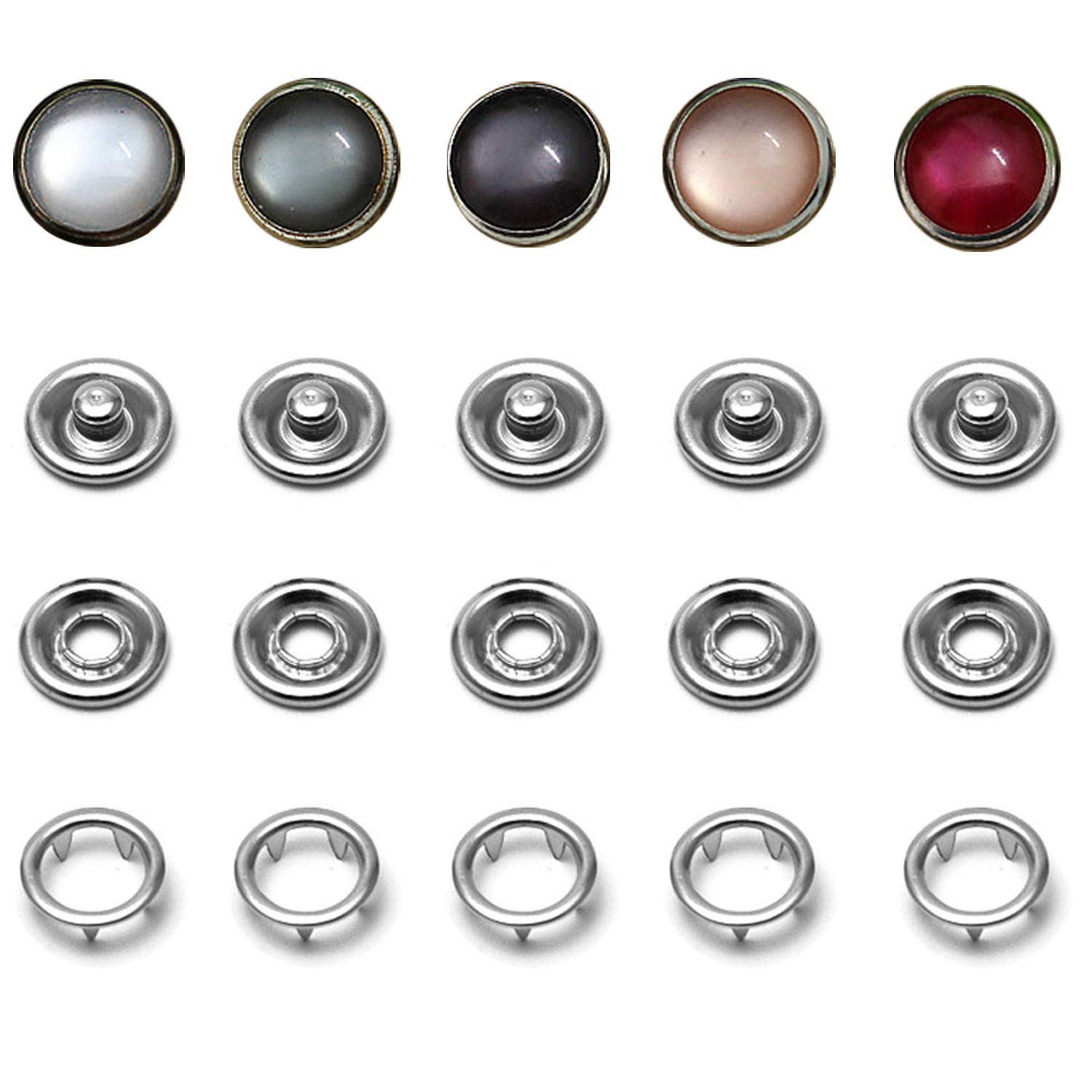 Snap Fastener Kit, 50 Sets Classic Pearl Prong Ring Snaps for Western Shirt Clothes Popper Studs with Clear Storage Box (5 Color x 10 Sets) by Ouhong