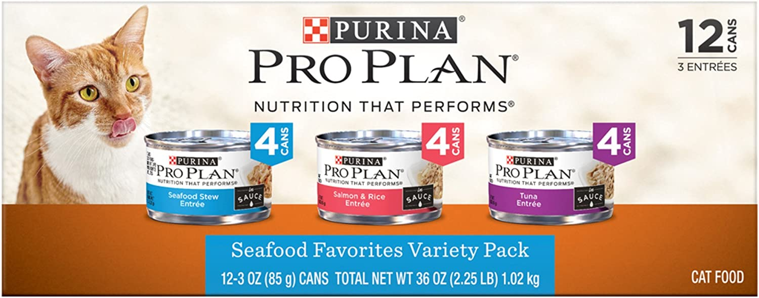 Nestle Purina Petcare 381023 36 oz Pro Plan Seafood Entrees Variety Pack (Pack of 12)