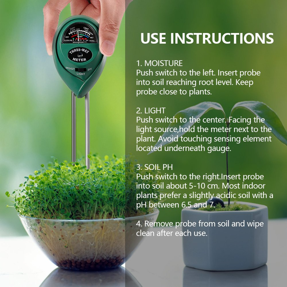 3 in 1 Soil Tester for PH, Light & Moisture, Plant Test Kit for Home and Garden, Farm, Lawn, Indoor & Outdoor, Easy Read Indicator (No Battery Needed) by FARINIDO (Image #8)