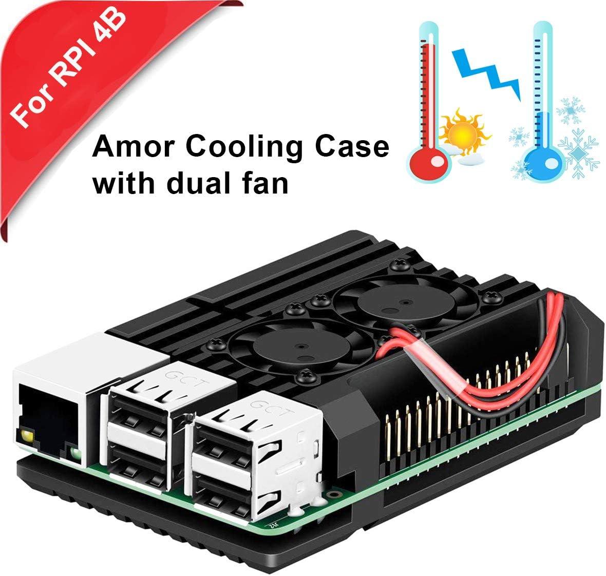 MakerHawk Estuche de metal con doble ventilador de enfriamiento Aleación de aluminio para Raspberry Pi 4B, Disipador de calor integrado, Protección contra el óxido solo para RPI 4B