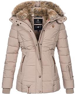 e88c4e98046533 Marikoo warme Damen Winter Jacke Winterjacke Steppjacke gefüttert Kunstfell  B658