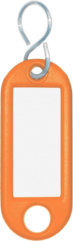 Orange avec crochets en S Lot de 100//étiquettes interchangeables Wedo 262803400/Porte-cl/és plastique