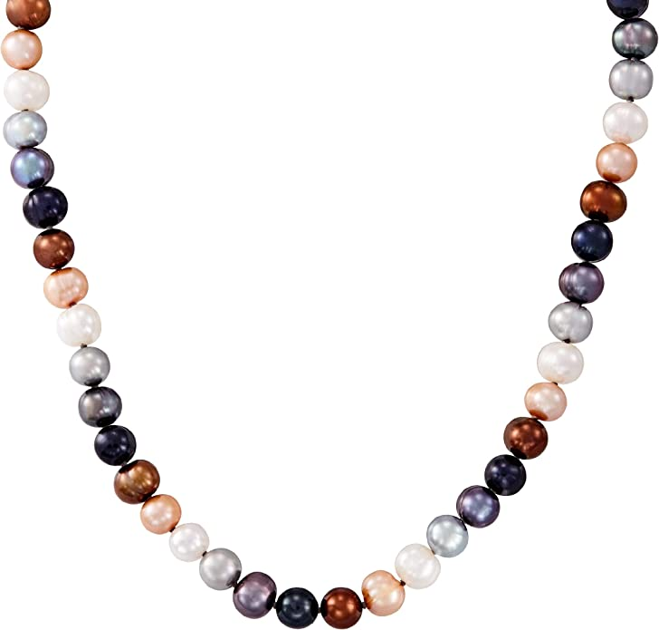 Honora 8-9 mm Tuxedo Baroque Freshwater Cultured Rice Pearl Strand Necklace in Sterling Silver
