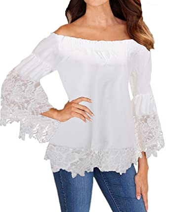 Styledome Sexy Womens Off Shoulder Tops Lace Crochet Long Sleeve