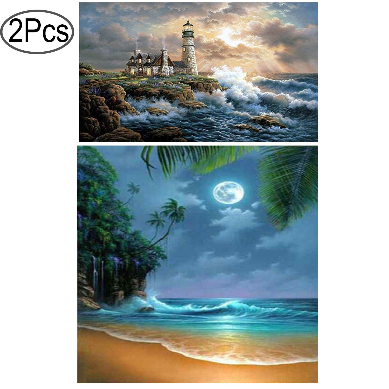 Standie 2 Pack Diamond Painting 5D Full Diamond Embroidery Rhinestone Cross Stitch Arts DIY Decorating Wall Stickers ( Seaside Scenery 45 x 35cm & Moonlight 40 x 30cm ) by