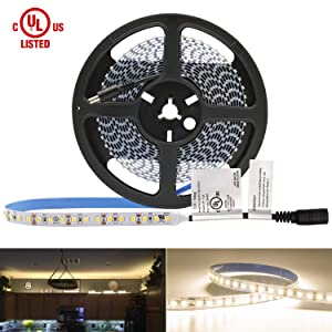 HitLights Warm White LED Light Strip, Premium High Density 3528-16.4 Feet, 600 LEDs, 3000K, 164 Lumens per Foot. UL-Listed. 12V DC Tape Light for Under Cabinet, Kitchen, Household& More