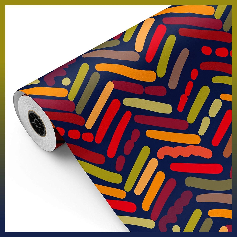 Bobina papel de regalo, rollo grande 62cm x 100m • TRAZOS ÉTNICOS A • Ideal para: Tiendas Negocios Comercios envolver regalos Cumpleaños Baby Shower Bodas Decoración [FP Fiesta Paper]
