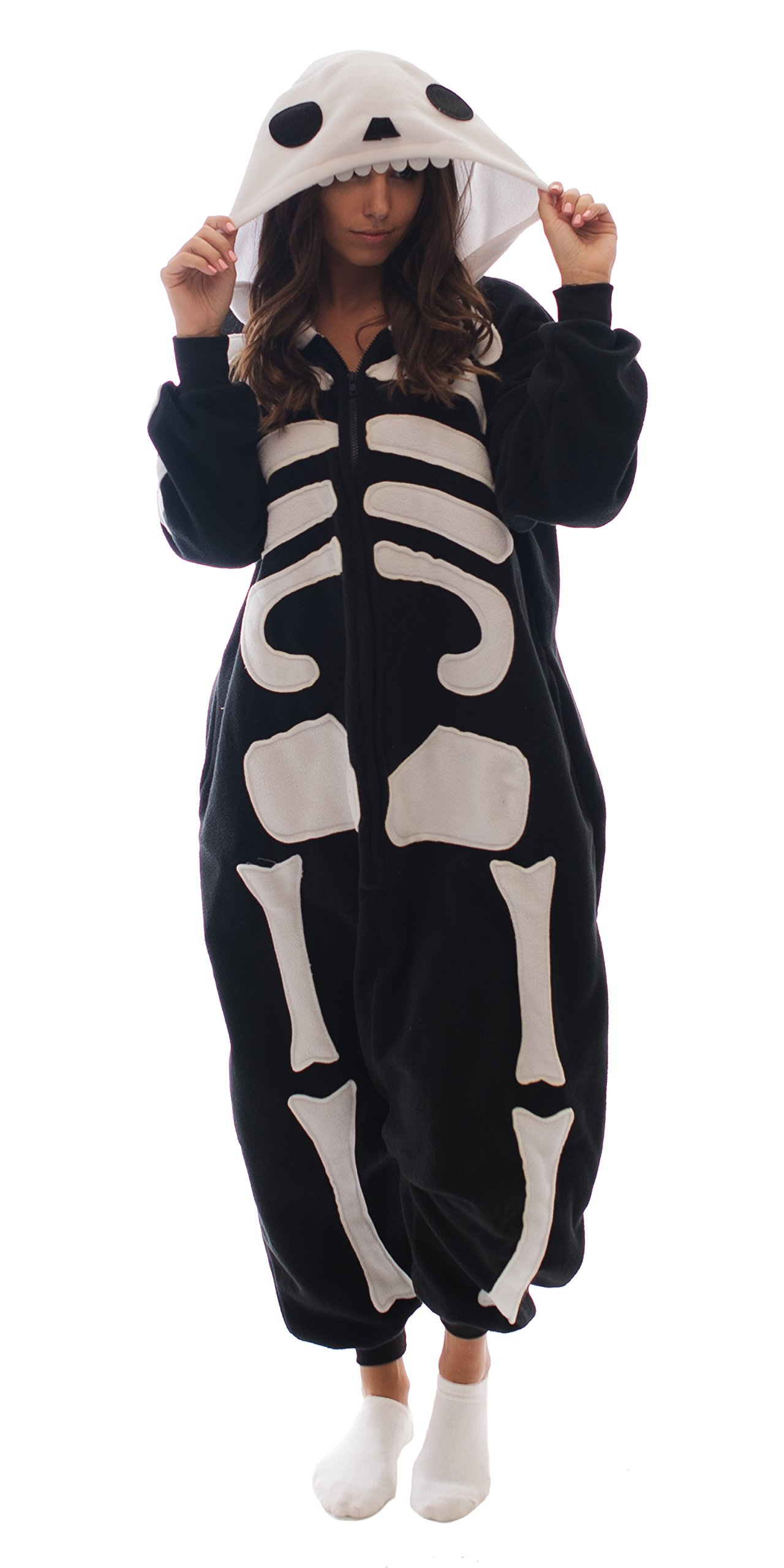 Adult Onesie Skeleton Animal Pajamas Comfortable Costume with Zipper and Pockets (Medium)