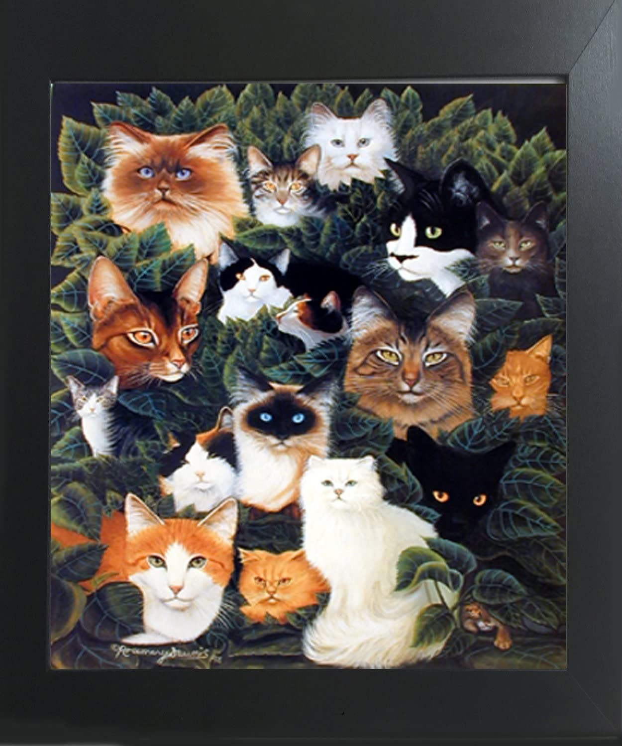 Amazon Com Impact Posters Gallery Cute Cat Collage Funny Animal Contemporary Black Art Print Framed Wall Decoration Picture 20x24 Posters Prints