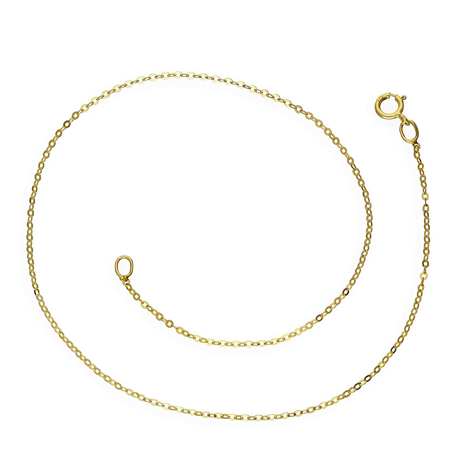 9ct Yellow Gold Hammered Trace Anklet 9.5 Inches jewellerybox MPL-001