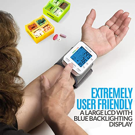 Muñequera de presión arterial - Monitor de presión arterial y banda de máquina automática BP con pantalla LCD grande para lectura rápida y precisa: ...