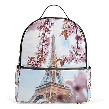2bb487f82a7e Amazon.com: TropicalLife Paris Eiffel Tower Cherry Blossom Backpacks ...