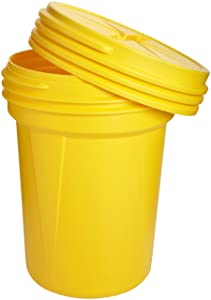 Eagle 1600SL Yellow High Density Polyethylene Lab Pack Drum with Plastic Screw-on Lid, 30 gallon Capacity, 28.25