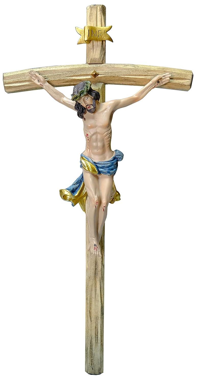 Kaltner Präsente - Crocifisso da Parete con Gesù Cristo, in Legno, Dipinto a Mano, 35 cm Kaltner Präsente
